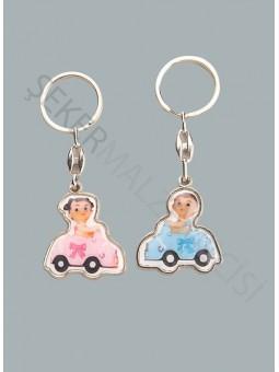 Arabalı Bebek Metal Anahtarlık