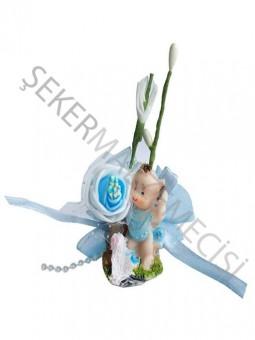 Bebek Şekeri Süslü Bahçede Mavi - 50 Adet
