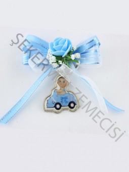 Arabalı Metal Anahtarlık Süslenmiş Bebek Şekeri Mavi - 50 Adet