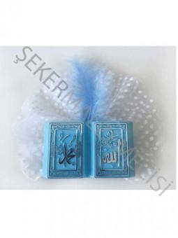 Mevlüt Şekeri Süslü Kitap Ayet Plastik Mavi - 50 Adet