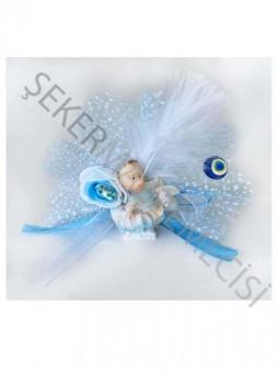 Bebek Şekeri Süslü Atlı Kızakta Mavi - 50 Adet