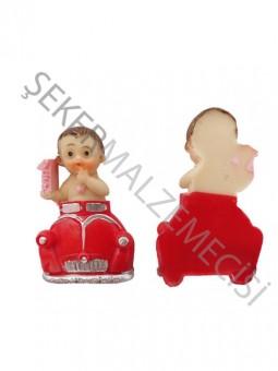 Arabada 1 Yaş Bebek Biblo Kırmızı