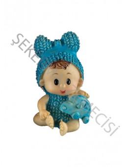 Oyuncaklı Oturan Bebek Biblo Mavi