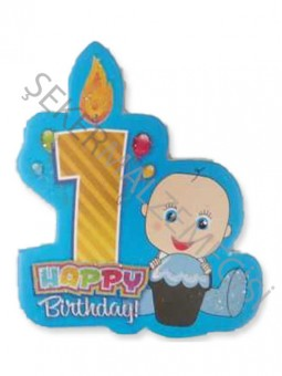 1 Yaş Happy Birthday Mumlu Sticker