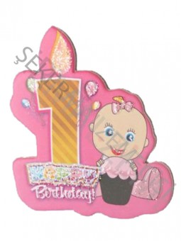 1 Yaş Happy Birthday Mumlu Sticker