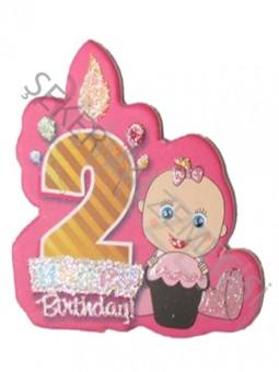2 Yaş Happy Birthday Mumlu Sticker