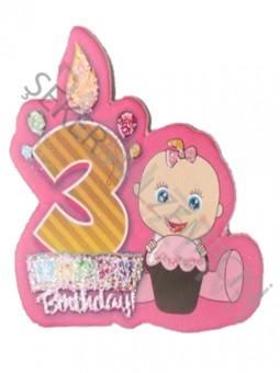 3 Yaş Happy Birthday Mumlu Sticker