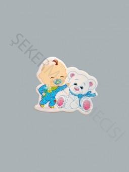 Ayıcıklı Bebek Karton Sticker