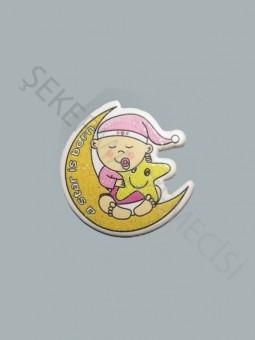 Ay Üstünde Bebek Karton Sticker