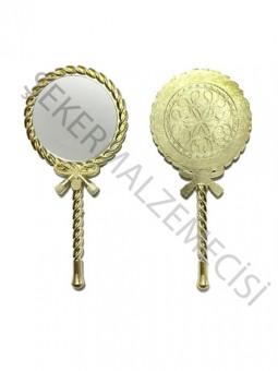 Burgulu Asetatlı Metal Ayna Altın