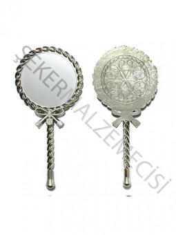 Burgulu Asetatlı Metal Ayna Gümüş