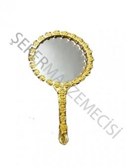 Çiçekli Yuvarlak Metal Ayna Altın