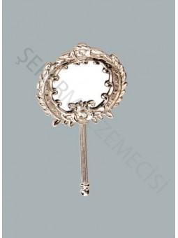 Metal Saplı Ayna Gümüş