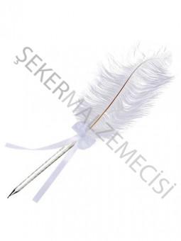 Kalem Orta Boy Süslü Tüylü Beyaz