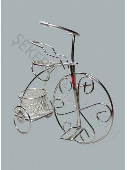Sepetli Tel Bisiklet Gümüş