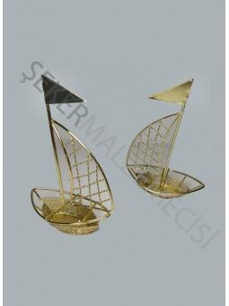 Metal Yelkenli Gemi Altın