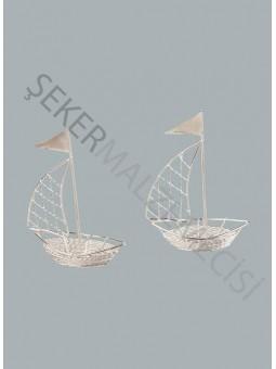 Metal Yelkenli Gemi Gümüş