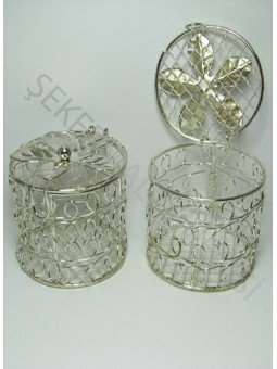 Kapaklı Metal Sepet Gümüş