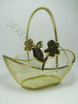 Çiçekli Metal Sepet Altın