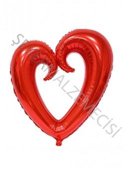 Ortası Boş Kalp Folyo Balon Kırmızı