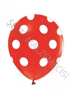 Beyaz Puantiyeli Kırmızı Balon