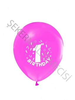 Happy Birthday 1 Yaş Baskılı Balon Pembe