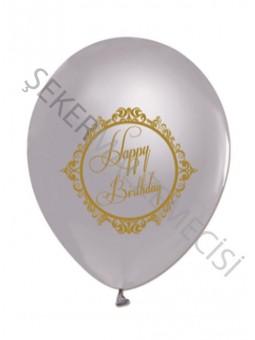 Happy Birthday Gold Elegent Stripe Silver Balon