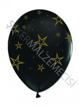 Altın Yıldız Baskılı Siyah Balon