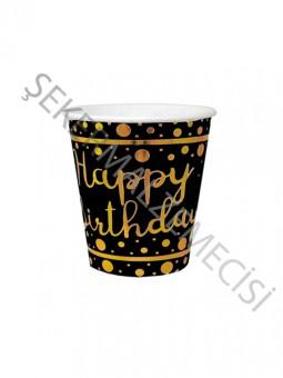 Bardak Gold Happy Bırthday Parlak Varak Baskılı Siyah