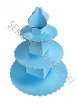 Cupcake Standı Pramit Model Düz Renk Mavi