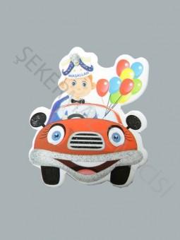 Sünnet Çocuğu Arabada Karton Sticker