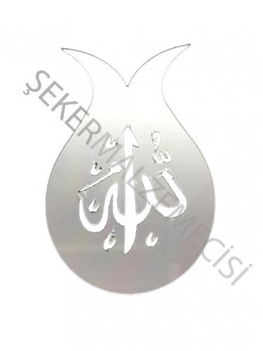 Ayet Allah Lafzı Laleli Yapışkanlı Pleksi Gümüş 10 adet