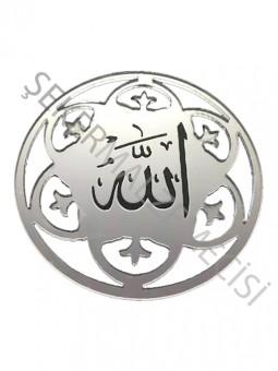 Ayet Allah Lafzı Lazer Kesim Pleksi Gümüş 10 adet