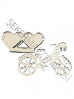 Kalpli Bisiklet Lazer Kesim Pleksi Gümüş 10 adet