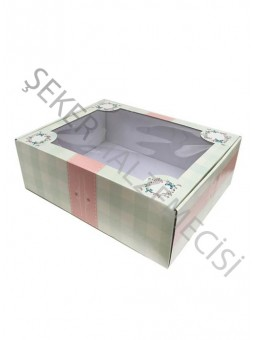 Kutu Karton Asetat Kapaklı Battal Boy  26 x 33 x 11 cm