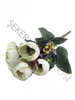 Çiçek El Buketi Şakayık Kadife Model Krem
