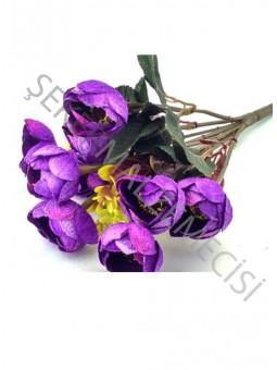 Çiçek El Buketi Şakayık Kadife Model Mor