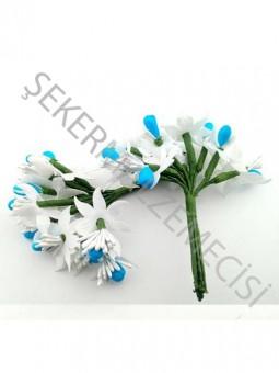 Çiçek Cipsolu ve Tomurcuklu Mavi