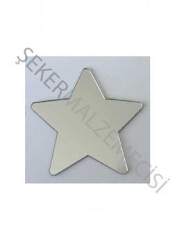 Pleksi Figür 1mm Yapışkanlı Yıldız 4x4 Gümüş